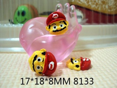 5 x 17MM SUPER MARIO FLAT BACK RESIN HEADBANDS BABY HAIR BOWS CARD MAKING PLAQUES